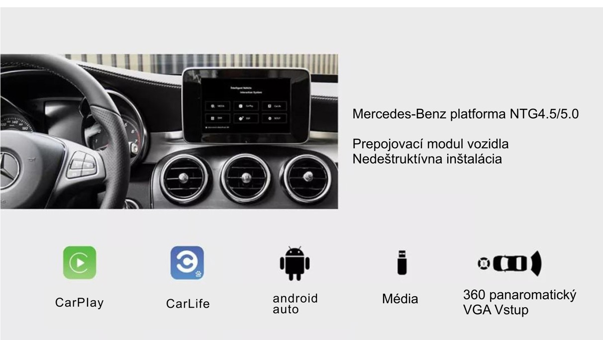 ANDROID AUTO & APPLE CARPLAY & MIRRORLINK pre Mercedes